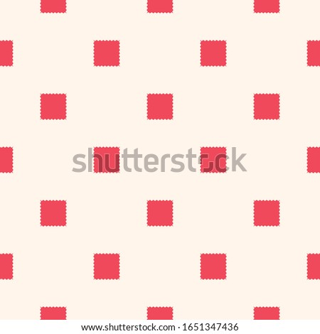Vector geometric ornament with jagged shapes, squares, repeat tiles. Abstract seamless pattern. Simple red and white background texture. Repeatable design for decor, fabric, cloth, textile, wallpapers