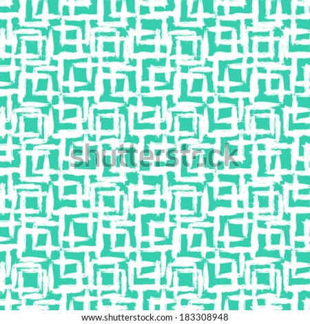 Vector geometric pattern with small hand painted squares placed in rows in bright aqua green white