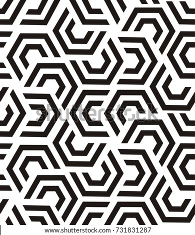 Vector geometric poly pattern. Black and white seamless texture with refracted poly. Abstract monochrome poly background, repeat tiles. Optical illusion effect. Trendy repeat design