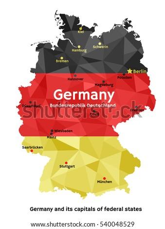Vector geometric polygonal map of Federal Republic of Germany, painted in the colors of the national flag. Bundesrepublik Deutschland and its capitals of 16 federal states (Bundeslander)