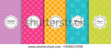 Vector geometric seamless pattern collection. Set of simple floral background swatches with elegant minimal labels. Abstract modern textures. Illustration in purple, pink, orange, blue, green color