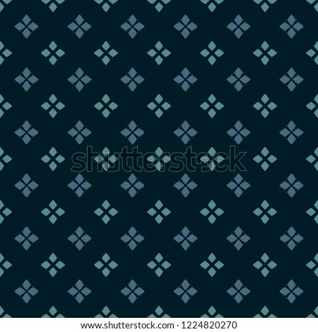 Vector geometric seamless pattern. Traditional folk ornament. Texture with small rhombuses, flower silhouettes, diamond shapes. National ethnic motif. Teal, blue and black colors. Repeat background