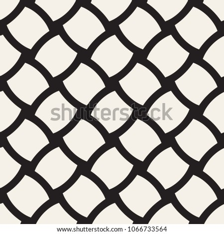 Vector geometric seamless pattern with curved shapes grid. Abstract monochrome rounded lattice texture. Modern repeating textile background design