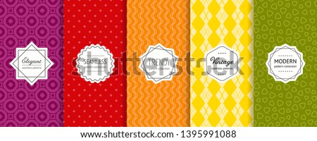 Vector geometric seamless patterns collection. Set of bright colorful background swatches with elegant modern labels. Cute funky abstract textures. Stylish ornaments. Pretty design. Minimal pattern
