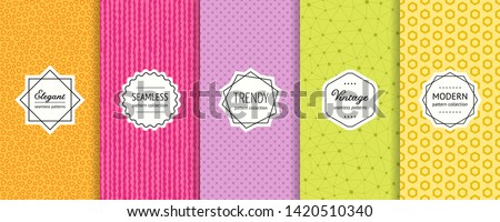 Vector geometric seamless patterns collection. Set of bright colorful background swatches with elegant minimal labels. Cute abstract textures. Modern design. Orange, pink, purple, green, yellow color
