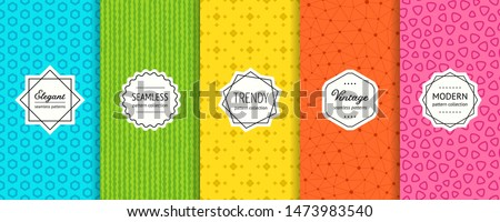 Vector geometric seamless patterns collection. Set of bright colorful background swatches with elegant minimal labels. Cute abstract textures. Modern design. Blue, green, yellow, orange, pink color