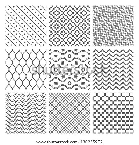 Vector Geometric Seamless Patterns Set. Monochrome Textures on white