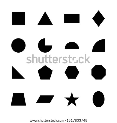 Vector geometric shape design set. Simple 2D collection of basic star, square, circle, triangle, rectangle, pyramid, polygon, trapezoid, octagon, hexagon, pentagon. Flat icon logo background