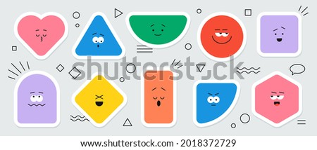 Vector geometric stickers with different face emotions. Cute cartoon characters of heart, triangle, circle, square, rhombus, rectangle and hexagon, colorful various figures.