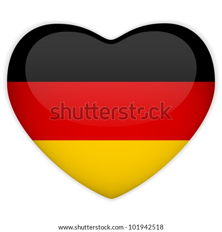 Vector - Germany Flag Heart Glossy Button