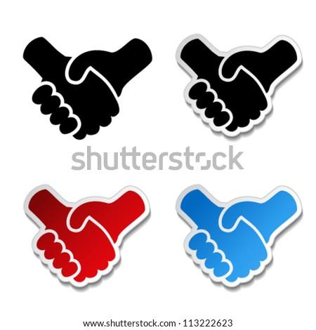 Vector gesture hand - handshake symbol, cooperation sticker - stock vector