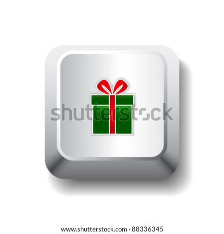 Vector get your gift illustration. White computer key with gift box.