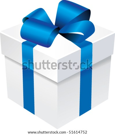 Vector gift box with blue ribbon and silk bow