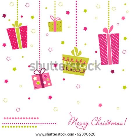 Vector Gift Boxes, christmas card