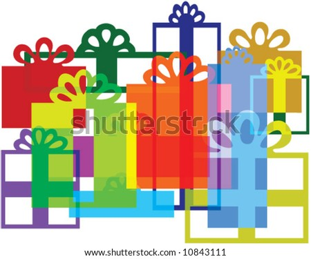 Vector Gift boxes composition. Recompose, rescale & recolor to your liking.
