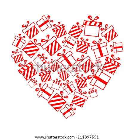 Vector gift boxes in the heart shape EPS8