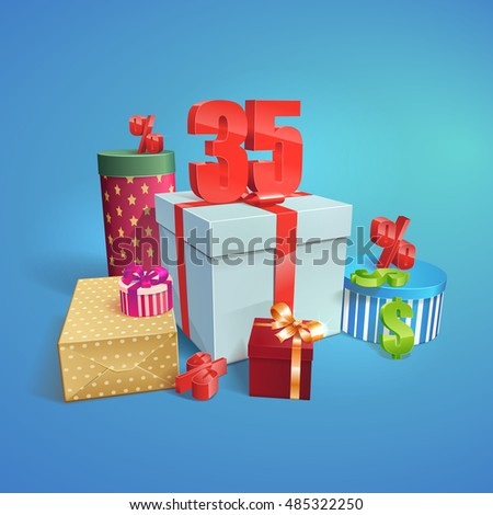 vector gift boxs with the