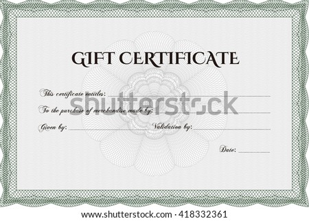 Vector Gift Certificate. Complex background. Customizable, Easy to edit and change colors. Excellent design.