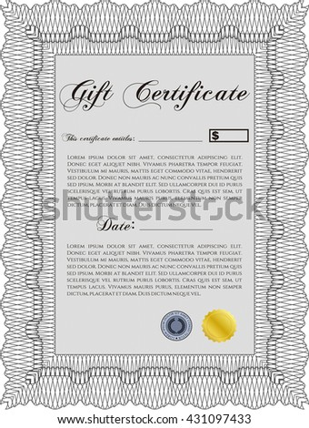 Vector Gift Certificate. Complex background. Excellent design. Customizable, Easy to edit and change colors.