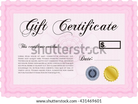 Vector Gift Certificate. Customizable, Easy to edit and change colors. Complex background. Excellent design.