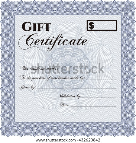 Vector Gift Certificate. Customizable, Easy to edit and change colors. Excellent design. Complex background.