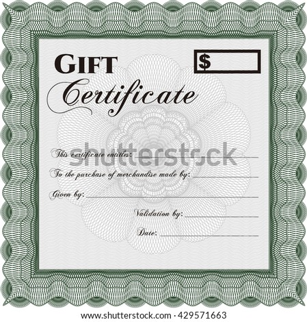 Vector Gift Certificate. Customizable, Easy to edit and change colors. Excellent design. With complex background.