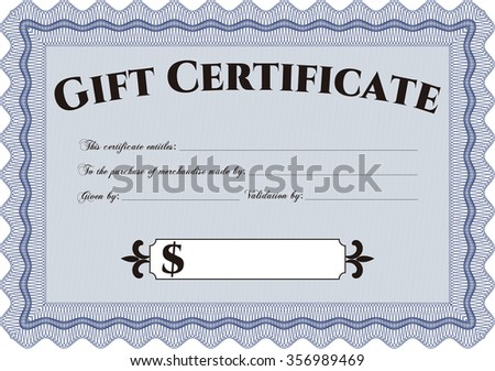 Vector Gift Certificate. Excellent complex design. Vector illustration.Easy to print.