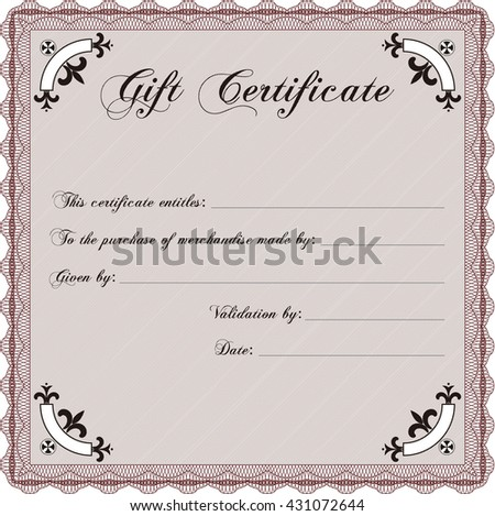 Vector Gift Certificate. Excellent design. Customizable, Easy to edit and change colors. Complex background.