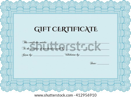 Vector Gift Certificate. Excellent design. Customizable, Easy to edit and change colors. With complex background.