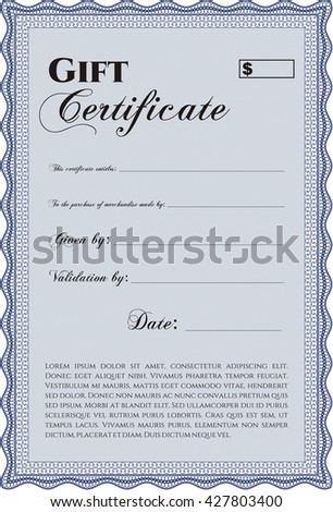 Vector Gift Certificate. Excellent design. With complex background. Customizable, Easy to edit and change colors.