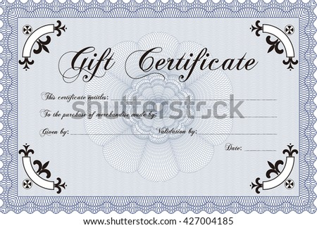 Vector Gift Certificate. Good design. Customizable, Easy to edit and change colors. With complex background.