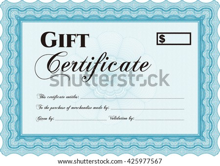Vector Gift Certificate template. Excellent complex design. With complex linear background. Vector illustration.