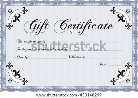 Vector Gift Certificate template. Vector illustration. Excellent complex design. With complex linear background.