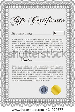 Vector Gift Certificate template. Vector illustration. Excellent complex design. With guilloche pattern and background.