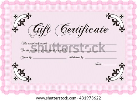 Vector Gift Certificate template. Vector illustration. With guilloche pattern and background. Elegant design.