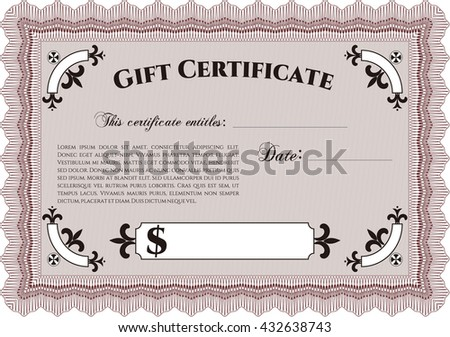 Vector Gift Certificate template. Vector illustration. With guilloche pattern and background. Excellent complex design.