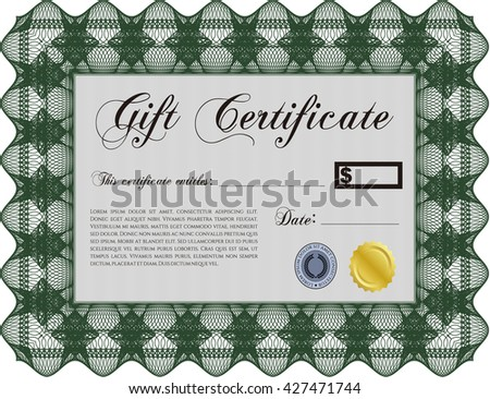 Vector Gift Certificate template. With complex linear background. Artistry design. Vector illustration.