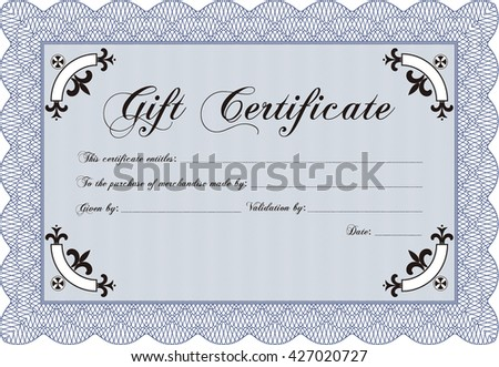 Vector Gift Certificate template. With complex linear background. Vector illustration. Artistry design.
