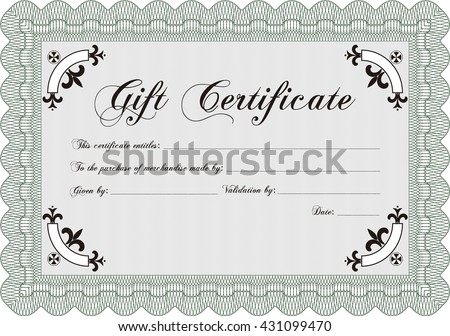 Vector Gift Certificate template. With complex linear background. Vector illustration. Excellent complex design.