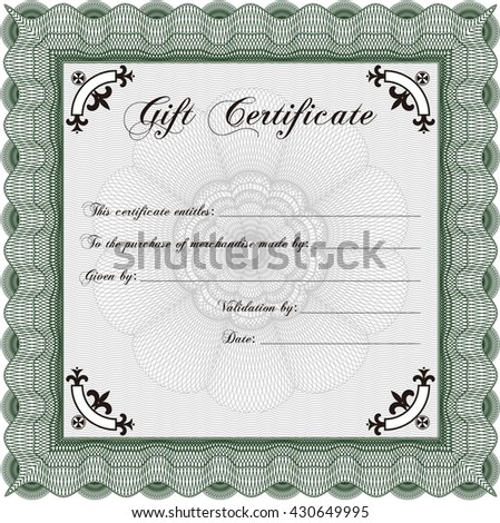 Vector Gift Certificate. With complex background. Excellent design. Customizable, Easy to edit and change colors.