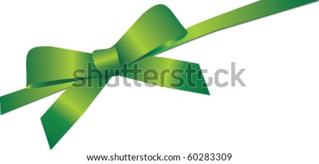 Vector gift ribbon with green silk bow