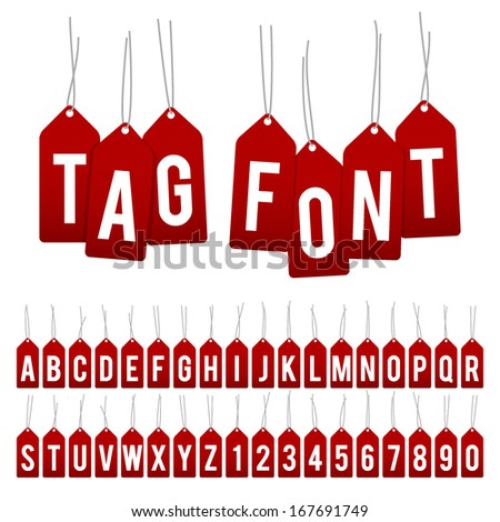 vector gift tag alphabet