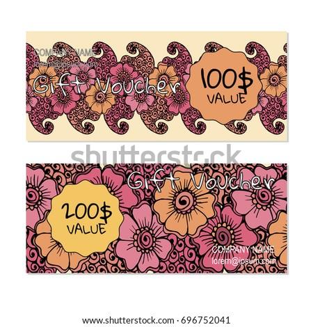 Vector gift voucher, card template with multicolor hand drawn doodle flower. Concept for boutique, shop, fashion, beauty salon, flyer, banner design. Doodle decorative illustration.