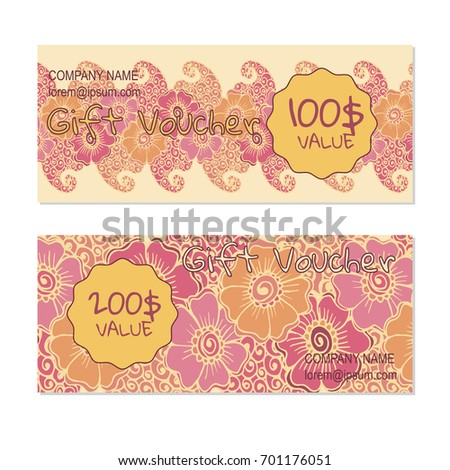 Vector gift voucher, card template with multicolor hand drawn doodle flower. Concept for boutique, shop, fashion, beauty salon, flyer, banner design. Doodle decorative illustration.