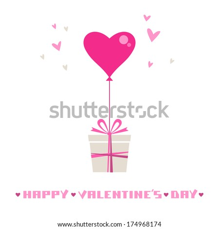 Stock Photo Vector gift with balloon in shape of hearts. Valentine's day and wedding card