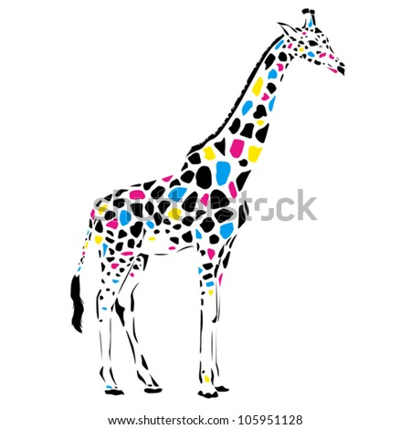 Vector giraffe abstract illustration. Safari animal silhouette with colorful spots, wild life design
