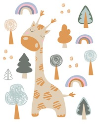 Vector giraffe in scandinavian style on a white background. Cute giraffe for cards, posters, textiles. Hand drow. Cartoon. Clip art. Stock illustration.