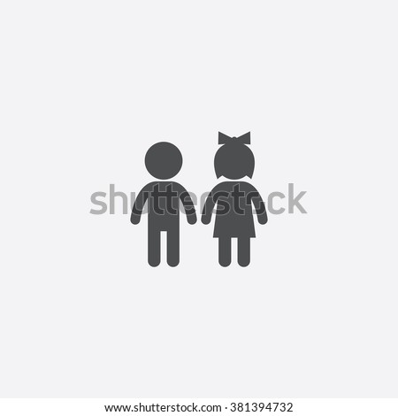 vector girl and boy icon