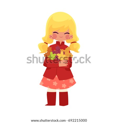 vector girl child with long