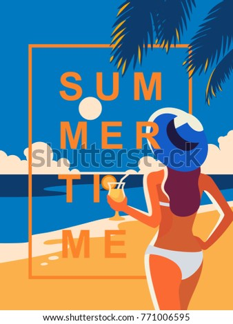 Vector girl enjoying cocktail on the beach. Poster summer time